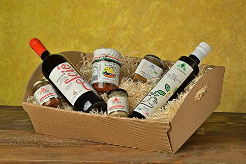 """Cesto/Box regalo gastronomico 2021 varie occasioni """" La Sicilia a Tavola 6 prodotti a scelta"""" un mix di specialità siciliane dal dolce al salato"""