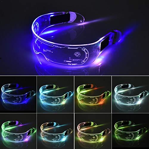XIAMUSUMMER Cristales luminosos LED para Halloween – Cristales de neón – Ciberpunk LED – Gafas de visera electrónica futurista – para fiesta discoteca DJ Musik, conciertos, en vivo, disfraz