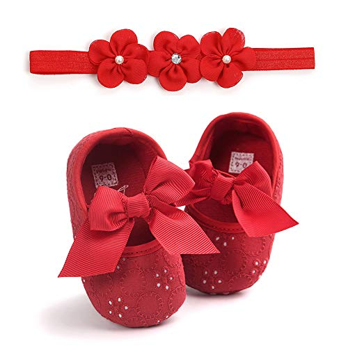 CHIRORO Babyschuhe Stirnband Geschenkset Weiche Baby Mädche Spitze Anti-Rutsch Bowknot Prinzessin Kleinkindschuhe mit Blumen Haarband,rot,6-9 Monate