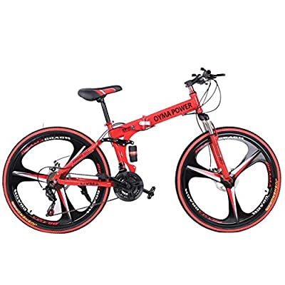 Mountain Bike Folding Bikes with High Carbon Steel Frame, Featuring 3 Spoke Wheels and 21 Speed Shimano Shifter, Double Disc Brake and Dual Suspension Anti-Slip Bicycles (26in, Red)
