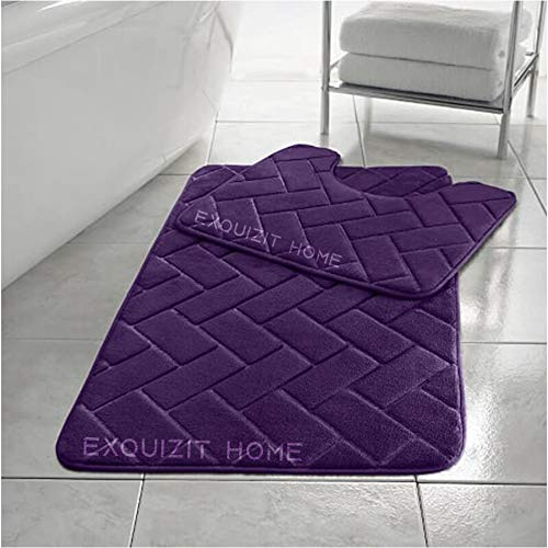 EXQUIZIT HOME Ensemble de 2 tapis de bain en mousse à mémoire de forme pour WC - Doux et absorbant - Antidérapant - Prune - 50 cm x 80 cm - Tapis contour WC (50 cm x 40 cm)