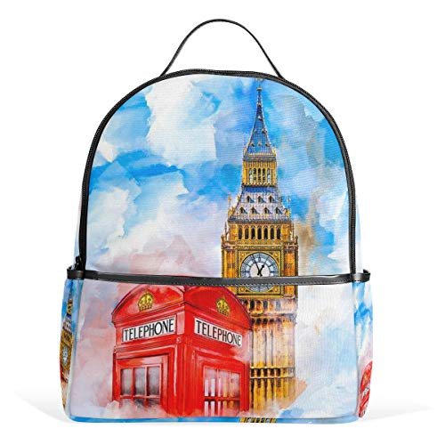 CPYang Mochila Escolar de Acuarela London Big Ben College Bolsa de Hombro Casual Mochila de Viaje para niñas niños Mujeres Hombres
