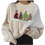 Frauen Frohe Weihnachten Shirts Lustige Frohe Weihnachten Gnome Dino Print Sweatshirt für Frauen Teen Mädchen Langarm Rundhals Tunika Tops Pullover Bluse Tees (Beige-07, XXL)