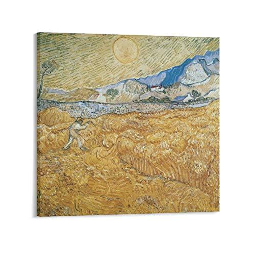 YGTD Vincent Van Gogh Wheatfield con un segador de pintura 1 póster de decoración para el hogar, para colgar en la pared, para dormitorio, pintura decorativa de 60 x 60 cm
