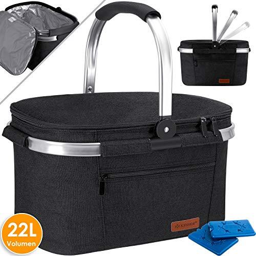 Kesser® 22L Kühlkorb Kühltasche faltbar Groß Kühlbox Isoliertasche Thermotasche Picknicktasche für Lebensmitteltransport Lunchtasche Isoliert für Aufbewahrung von Wärme und Kälte Schwarz