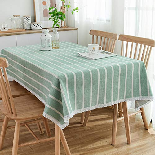 SKkyer gestreepte tafelkleed dik linnen en chenille tafelkleed rimpel gratis anti-vervaging salontafel vierkante tafelkleden