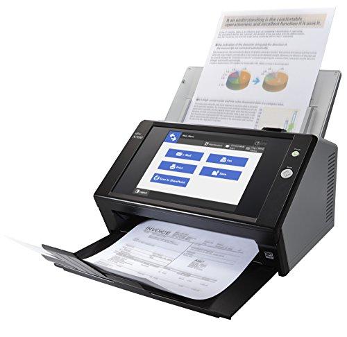 Fujitsu N7100 Touchscreen Netzwerkscanner (600x600 DPI) mit 25 Seiten pro Minute/50 Blatt Dokumenteneizug/Gigabit LAN Schnittstelle