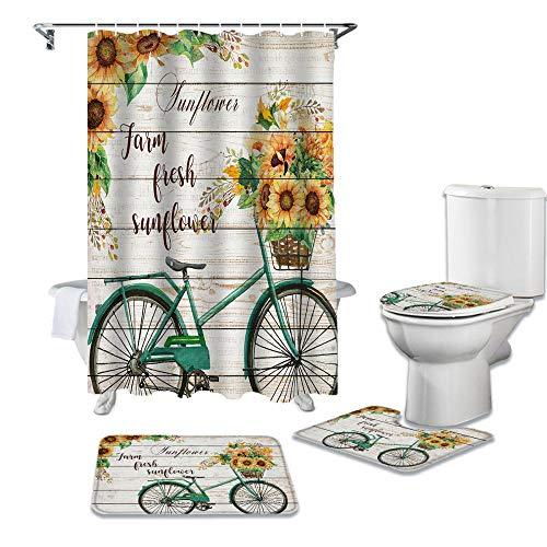 HGFHKL Girasol Bicicleta Granja Flor Tablón de Madera Textura Cortina de Ducha Alfombra Cubierta de Inodoro Alfombra de baño Juego de Almohadillas Baño Decoración para el hogar 4 Piezas/Set