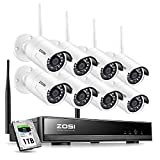 ZOSI 8CH 1080P Wireless Security Cameras System With 1TB Hard Drive,H.265+...