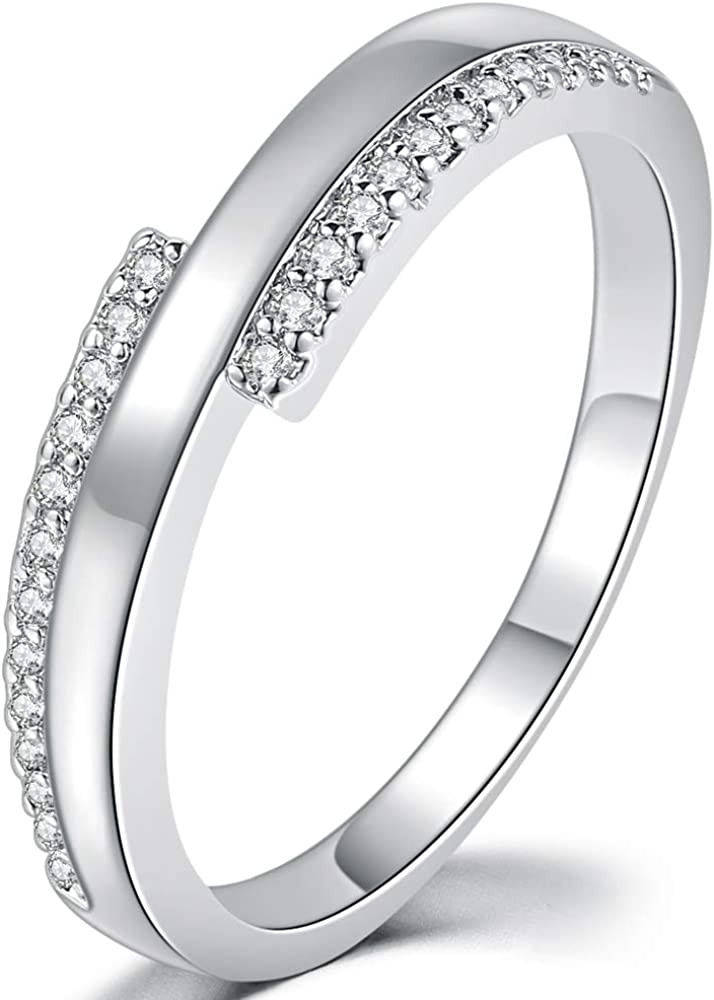 Jude Jewelers Platinum Plated Cubic Zirconia Wedding Band Stackable Eternity Ring