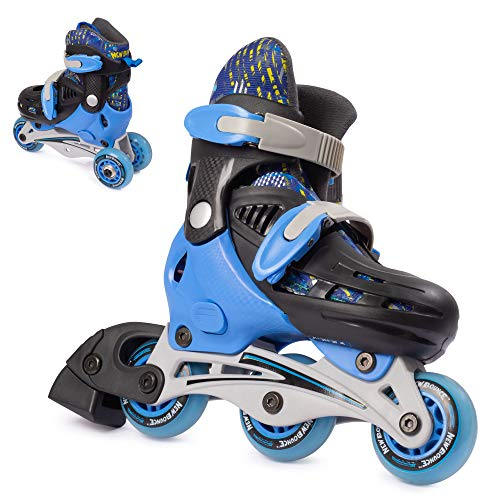 New Bounce Roller Skates for Little Kids - Shoe Size EU 24-28, US Kids Junior Size 8-11, 2-in-1 Roller Skates for Boys, Converts from Tri-Wheel to Inline Skates - Rollerskates for Beginners | Blue