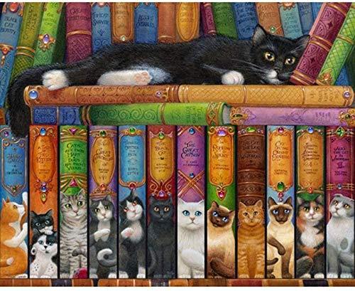 Kits de punto de cruz estampados, patrones de bordado para principiantes, libro de gatos, gama completa de 16 × 50 cm, gama completa de kits de iniciación de bordado