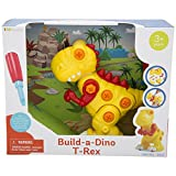 KidSource Build-A-Dino - Build and Take Apart Dinosaur Toy - Construction Play Set with Screwdriver Tool - Promotes Early STEM Learning for Ages 3 and Up (T-Rex)