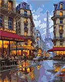 Después de la lluvia en la cena Paris Street View Diy Digital Oil Painting Set Wall Art Canvas Painting Home Decoration Gift