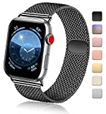 Vanjua Metal Correa Compatible con Apple Watch Correa 44mm 42mm 38mm 40mm,Pulsera de Repuesto de Inoxidable Correa para iWatch Series 5 4 3 2 1,Mujer y Hombre (42mm/44mm, 02 Negro)