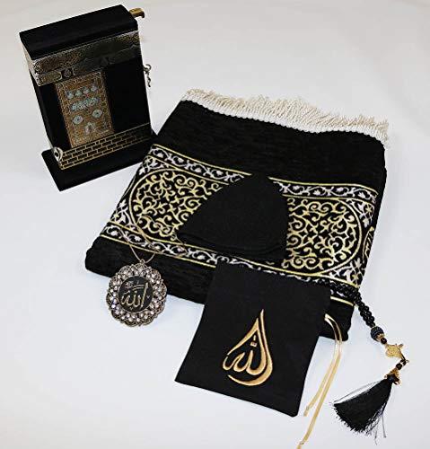 Modefa Turkish Islamic Luxury Meccan Woven Chenille Prayer Rug Janamaz Sajadah Black (Deluxe Gift Set with Quran)
