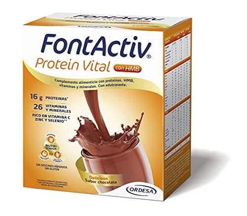 FONTACTIV Protein Vital, Complemento Nutricional Para Adultos, Hiperproteico Con Hmb Y Alto Contenido En Vitaminas Y Minerales, Sabor, 4 Sobres, Chocolate