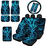 JEOCODY Blue Dragon Car Seat Covers Set 2 Front Driver and 2 Bench Seat Protector Pads + 4 Car Floor Mats + 1 Steering Wheel Cover + 1 Armrest Cover Pad + 2 Car Seat Belt Pad 12 PCS Universal Fit