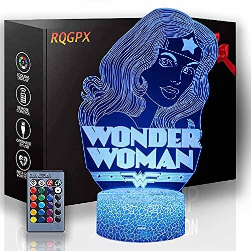 Lámpara de escritorio de ilusión 3D Wonder Woman Night Light Touch LED Lámpara de escritorio de mesa de 16 colores cambiante Touch interruptor de escritorio luz de noche para niños amigos regalo