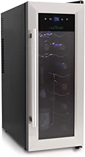 NutriChef 12 Bottle Thermoelectric Wine Cooler / Chiller | Counter Top Red And White Wine Cellar | FreeStanding Refrigerat...