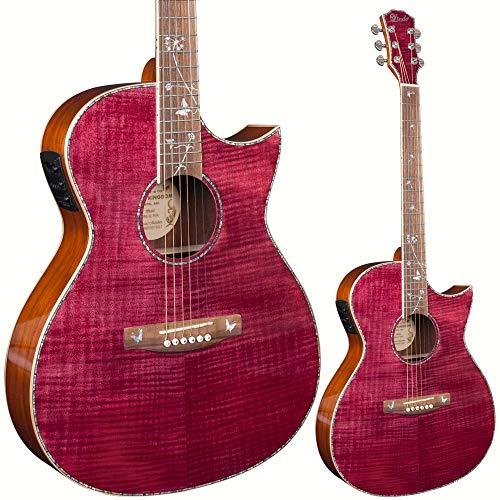 Lindo Dandelion ORG-SL - Guitarra electroacústica fina rosa con micrófono BS5M Blend Preamplificador piezoeléctrico LCD sintonizador y bolsa acolchada
