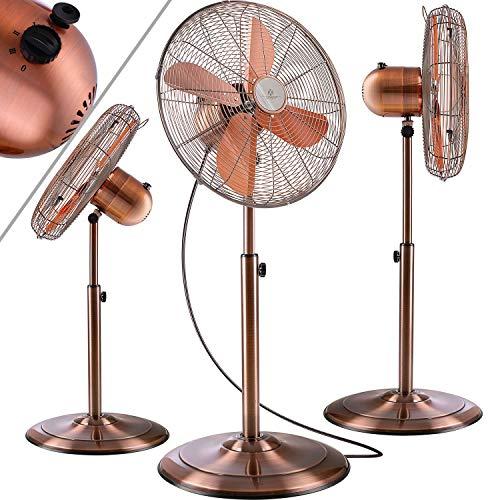 KESSER® Standventilator Metall 40 cm | Oszillation 80 Grad | Chrom-Design | höhenverstellbarer Standfuß | 3 Geschwindigkeiten | 30 Grad neigbar | Ventilator Standlüfter | Ventilator | Kupfer