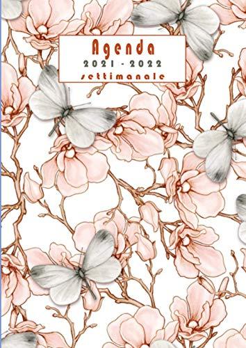 Agenda 2021 2022 settimanale: A4-italiano-diario vista settimanale -annuale | fiori | 16 mesi da aprile 2021 a luglio 2022 | calendario Pianificatore giornaliera , mensile | weekly planner