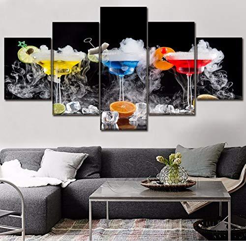 Canvasafbeelding, muurkunst, decoratie voor feestjes, 5 stuks, cocktail, dranken, fruit, glas, ijsblokjesvorm, rookschilderwerk, moderne printkunst 30x40cmx2 30x60cmx2 30x80cmx1 Geen frame