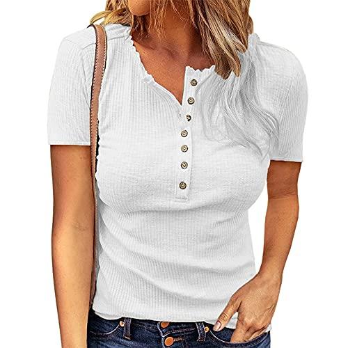 Top donna manica lunga/corta con scollo a V Bottone causale Henley Tunica T-shirt da donna Camicetta Bottoni Camicetta casual T-shirt estiva Girocollo Top T-shirt con orlo irregolare Maglietta Henley