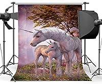 新しいユニコーン背景5X7FTビニールおとぎ話ワンダーランド背景魅惑の風景ジャングルの森草フィールド木夢の世界写真の背景女の子の誕生日写真スタジオの小道具HM659