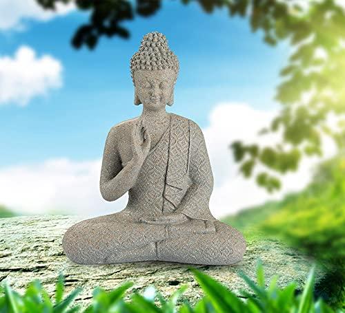 Giftchy Meditating Buddha Statue, Zen Buddha Figurine in Brown Sandstone Finish, Thai Buddha Sculpture for Home & Garden Decorations (9.5' H)