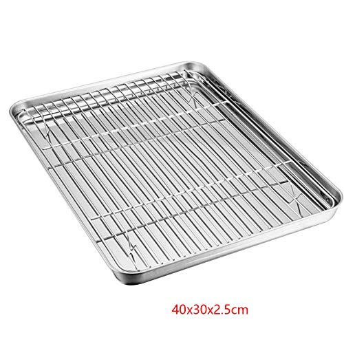 Baking Tray with Rack Set, Stainless Steel Baking Sheet Pan with Cooling Rack, Mirror Polish & Easy Clean for Kitchen Oil Drain Baking Food Cooker (40x30x2.5cm)