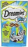 Dreamies Golosinas para Gatos, bocadillos sabrosos con salmón Delicioso y Sabor a atún Celestial, 8 Bolsas de 60 g