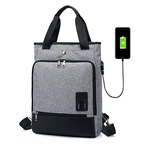 SINOKAL Mochila para Mujeres Hombres Bolso Bolsa de Viaje Mochila de Portátil Backpack Impermeable para el Laptop del Negocio Trabajo Diario Ocio con Puerto de Carga USB (Gris)
