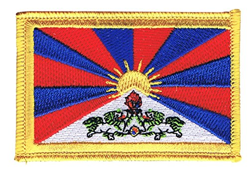 Flaggen Aufnäher Tibet Fahne Patch + gratis Aufkleber, Flaggenfritze®