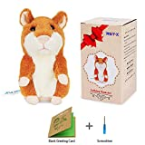 REY-X Talking Hamster Repeats What You Say Electronic Hamster Mimicry Pet Plush Interactive Toys for Children and Birthday Present (Brown)