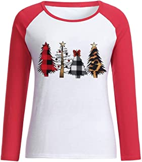 Women's Merry Christmas Shirt Stitching T-Shirt Long Sleeve Letters Print Top Casual O-Neck Tees Pullover