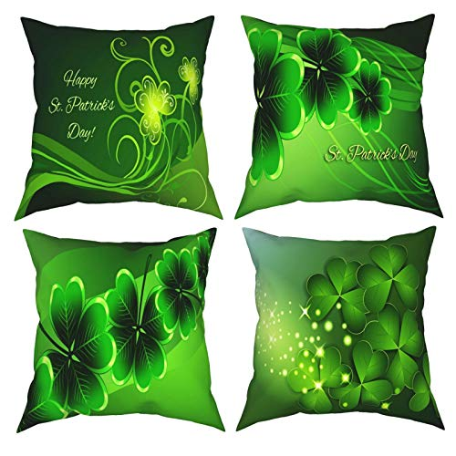 Throw Pillow Covers 20'X20', Happy Saint Patricks Day Clover Decorative Pillow Covers Set of 4