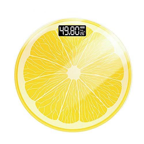 GULIYUN Báscula de baño Digital Báscula de Peso de Alta precisión Visión Nocturna Pantalla LED Monitoreo de Temperatura Diseño Redondo de limón 180 kg,Amarillo