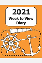"""2021 Weekly Diary: Large Print (Mariner - Orange Cover) - 8"""" x 10"""" with Months, Important Dates & Week to View Planner - Simple layout. Large Print. Easy to use for visually impaired Paperback"""