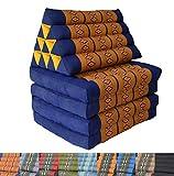 Coussins de sol triangulaire Thaïlandais et matelas 210 cm Bleu/Orange