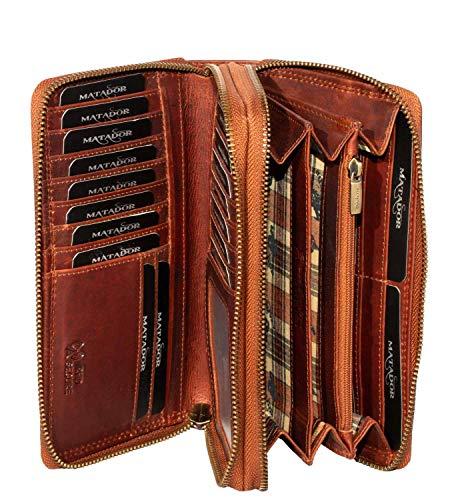 MATADOR Damen/Frauen Geldbörse RFID/NFC Schutz Hochwertige Portemonnaie Rinds Leder Geldtasche mit Doppelter Metall Reißverschluss viele Kartenfächer (Vintage Braun)