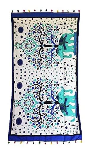 Pareo Toalla Playa Piscina Mujer Grande 2en 1 Rizos Secado Rápido Mandala Elefantes Árbol de la Vida 175x97cm (Turquesa Azul)