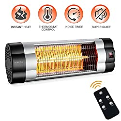 SURJUNY PATIOBOSS Patio Heater, Electric Wall-Mounted Outdoor Heater with LCD Display, Indoor/Outdoor Infrared Heater, 1500W Adjustable Thermostat, 3 Seconds Instant Warm, Waterproof IP34 Rated, W01