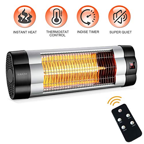 Cheap SURJUNY Patio Heater, Electric Wall-Mounted Outdoor Heater with LCD Display, Indoor/Outdoor Infrared Heater, 1500W Adjustable Thermostat, 3 Seconds Instant Warm, Waterproof IP34 Rated, W01