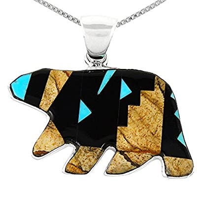 "Bear Pendant Necklace 925 Sterling Silver Genuine Turquoise & Gemstones (24"" Length)"