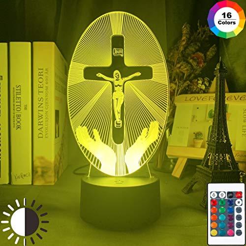 Sanzangtang Led-nachtlampje, 3D-vision-zeven, kleuren-afstandsbediening, Jezus Crucifixion, nachtlampje in de kerk decoratieve lampjes, nachtlampje voor volwassenen