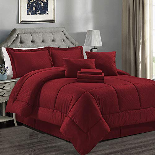 JML Comforter Set, Microfiber Bedding Comforter Sets with Shams - Luxury Solid Color Quilted Embroidered Pattern, Perfect for Any Bed Room or Guest Room (Burgundy, Cal King)