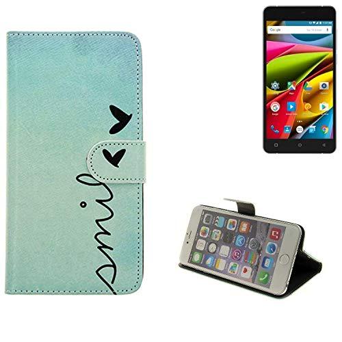 K-S-Trade® Schutzhülle Für Archos 55b Cobalt Lite Hülle Wallet Case Flip Cover Tasche Bookstyle Etui Handyhülle ''Smile'' Türkis Standfunktion Kameraschutz (1Stk)