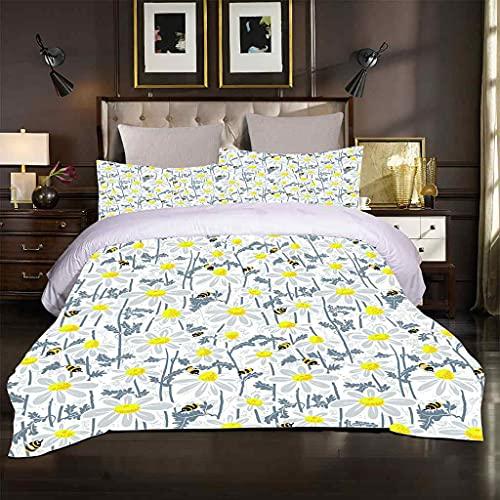 ZSZCDU Super King Beddengoed Dekbedovertrek Set Witte bloem bij Dekbedovertrekken Dubbel Bed Sets met Ritssluiting + 2 Kussenslopen Quilt Cover Sets 240x260cm